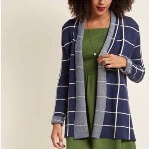 Modcloth Simply Snugly Windowpane Open Cardigan